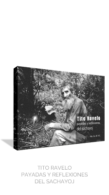 El siguiente libro en la serie -el que aquí presentamos- es Tito Ravelo, payadas y reflexiones del sachayoj. Don Tito Ravelo (1916-2004) fue un campesino activo, nacido y criado en el monte, gaucho criollo, hombre de a caballo y hacha, domador, artesano, bailarín, sabedor de remedios y canciones, de formas de ver el mundo a través de sus potencias invisibles; y, finalmente, relator de un libro, el Martín Fierro de José Hernández, el cual recita y comenta.